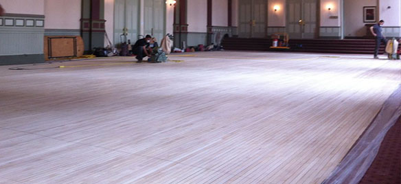Commercial hardwood flooring installation